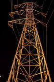 Elecrical High Power Wires at Night — Stock Photo