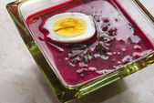 Borscht with beet and egg — Stock Photo