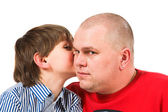 Father and son sit and talk — Stock Photo