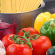 Vegetables and spaghetti — Stock Photo