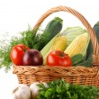Vegetables and wicker basket — Foto Stock