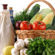 Vegetables and wicker basket — Stock Photo
