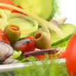 Composition with vegetable salad with olives - 