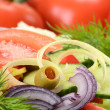 Composition with vegetable salad with olives - Stockfoto