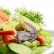 Composition with vegetable salad with olives - 图库照片
