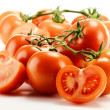 Composition with fresh tomatoes isolated on white — Stock Photo #5569888