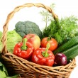 Vegetables in wicker basket — Stock Photo