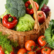Vegetables in wicker basket — Stock Photo #5569959