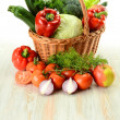 Vegetables in wicker basket — Stock Photo #5569971