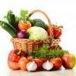 Vegetables in wicker basket — Stock Photo #5569973