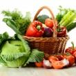 Vegetables in wicker basket — Stock Photo #5569979