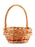 Empty wicker basket isolated on white — Stock Photo