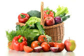 Vegetables in wicker basket — Photo