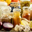 Stock Photo: Spices and vegetables on kitchen table