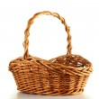 Empty wicker basket isolated on white — Stock Photo #5570546