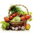 Composition with raw vegetables and wicker basket — Stock Photo #5765984