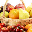 Fruits and wicker basket — Stock Photo #5849607