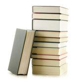 Beyaz izole kitap yığını ile kompozisyon — Stok fotoğraf