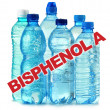 Anti bisphenol A (BPA) sign with plastic bottles of mineral water — Stock Photo