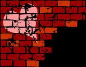 Dark wall with heart — Stock Vector