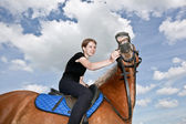 Nice Girl and a Horse — Stock Photo