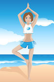 Girl practicing yoga on the beach — Stock Vector
