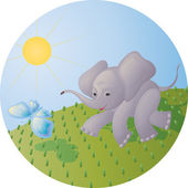 The elephant calf and the butterfly — Stock Vector