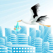 Stork with the baby boy over a city — Stock Vector