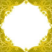 Marco flores doradas fantasía — Vector de stock