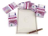 Billetes en euros por un documento en blanco — Foto de Stock