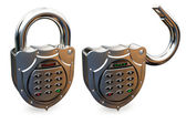 Closed and opened combination padlock — Stock Photo