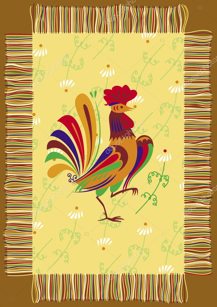 Decorative napkin with the image of a cock  Stock Vector #5406032