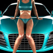 Car and sexy woman in studio — Stock Photo #6463401