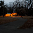 Lighted Park Shelter — Stock Photo