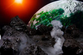 Abstract view of earth from another planet — Stockfoto