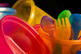 Baby Cups Bowls Forks and Spoons — Stock Photo