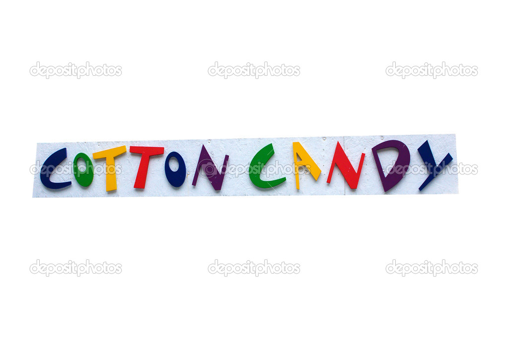 Colorful Cotton Candy Sign with white background. — Stock Photo #5443181