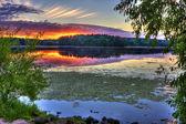 Alba sul lago — Foto Stock