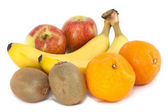 Apples, Oranges, Bananas and Kiwi Fruit On White — Stock Photo