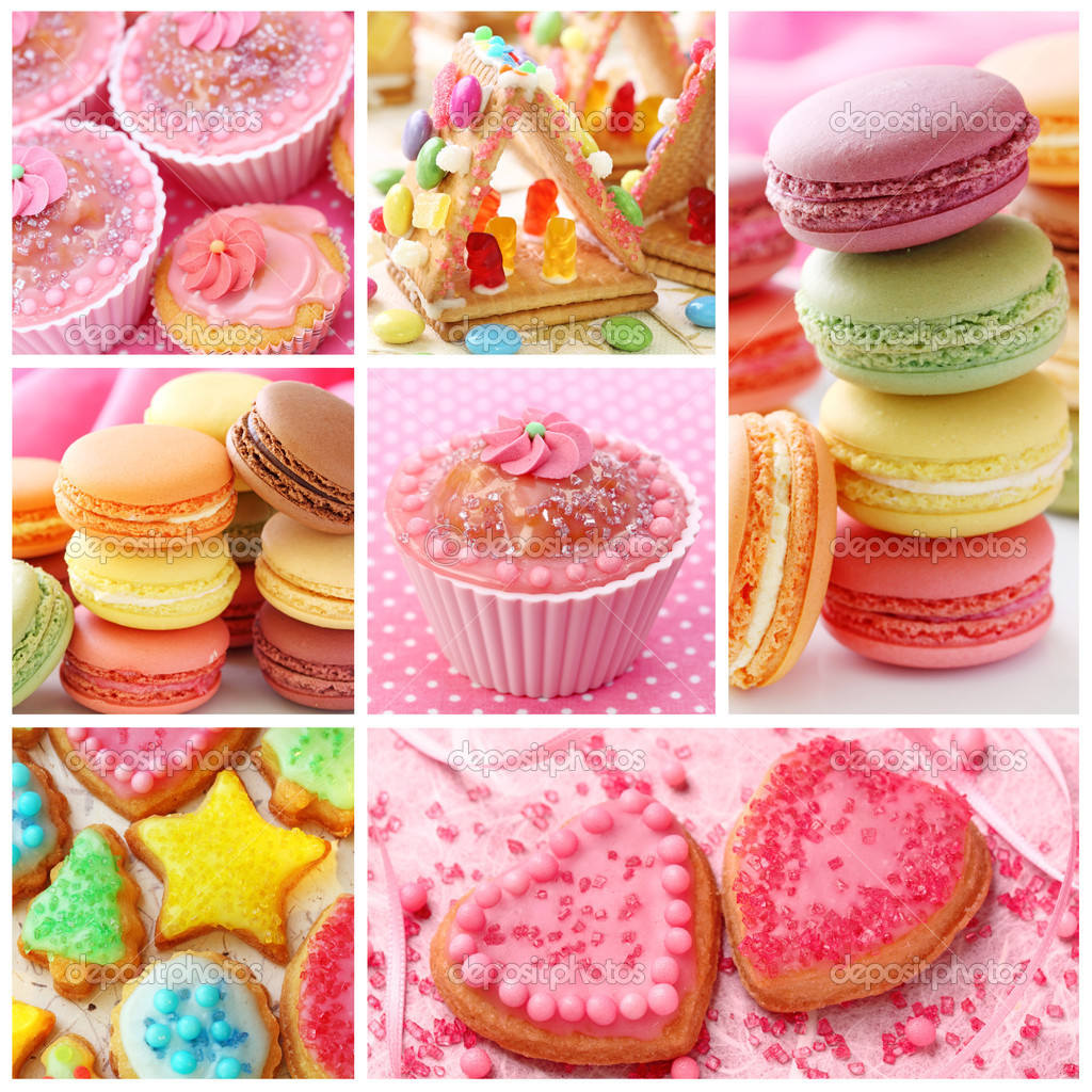 Colorful cakes collage — Stock Photo #5408841