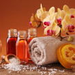 Spa still life with essential oils - Stock Photo