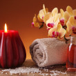Spa still life with candle — Stock Photo