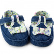 Stock Photo: Blue baby girl shoes