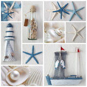 Collage of summer sea stars — Stock Photo