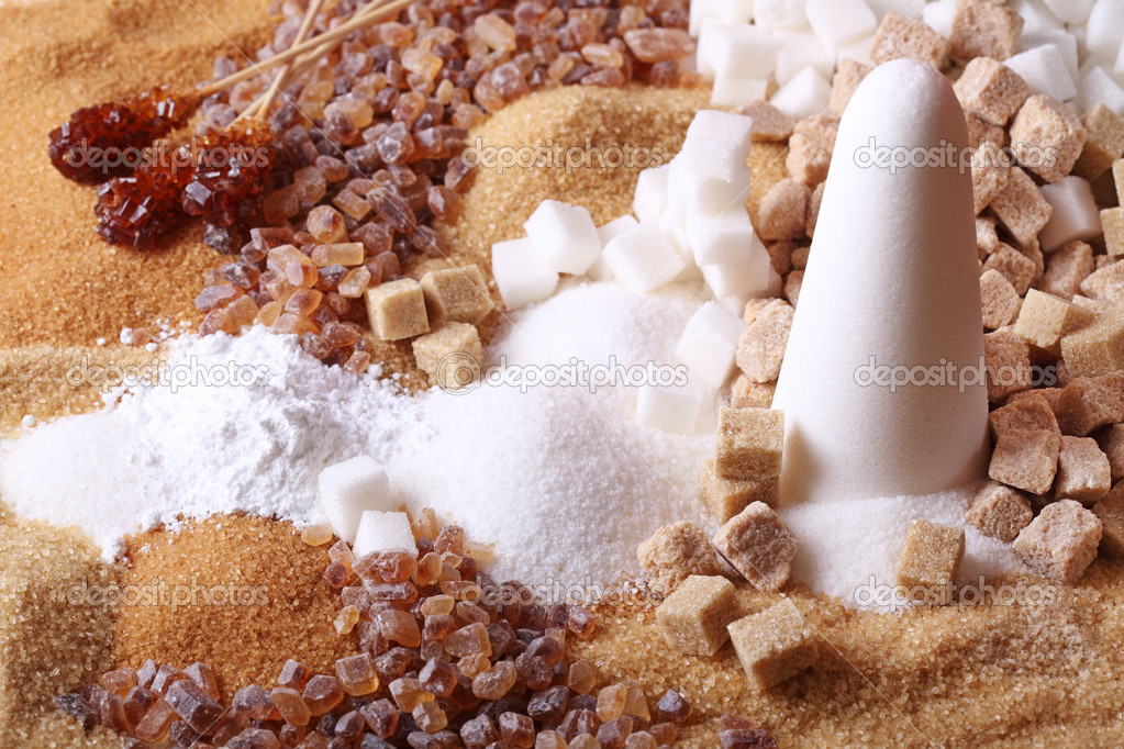 Various kinds of sugar close up  Stock Photo #5444634