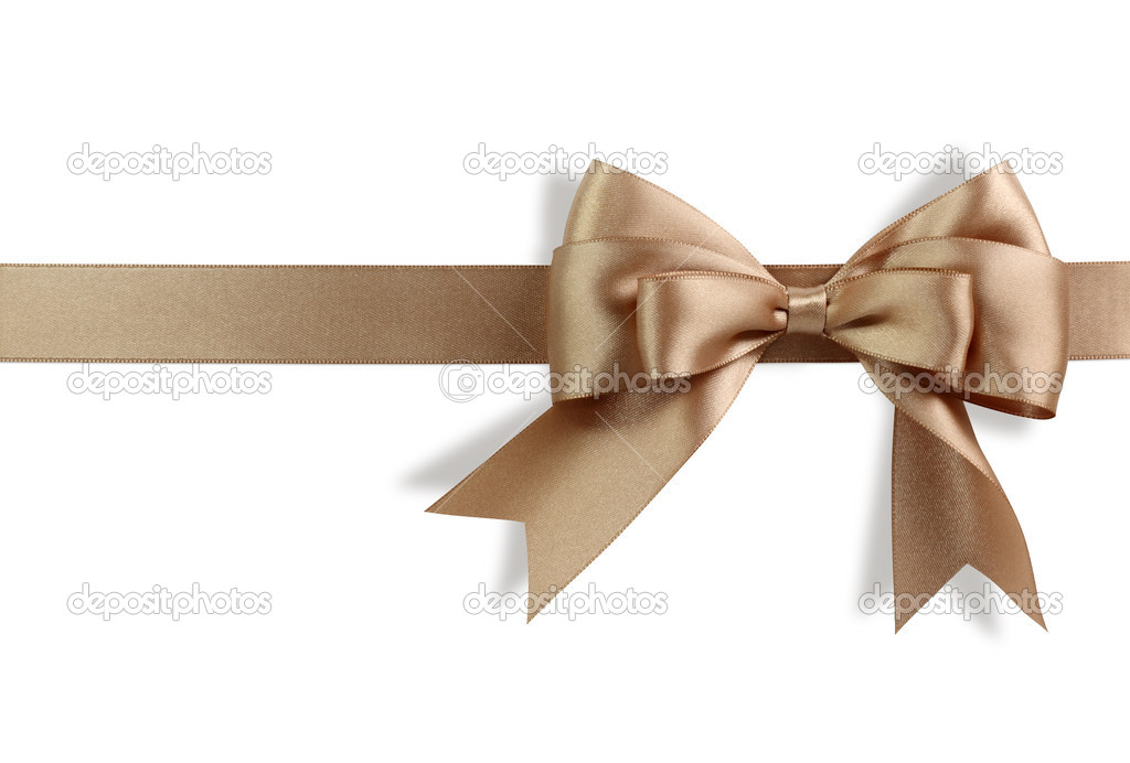 Golden bow isolated on white background — Stock Photo #5445318