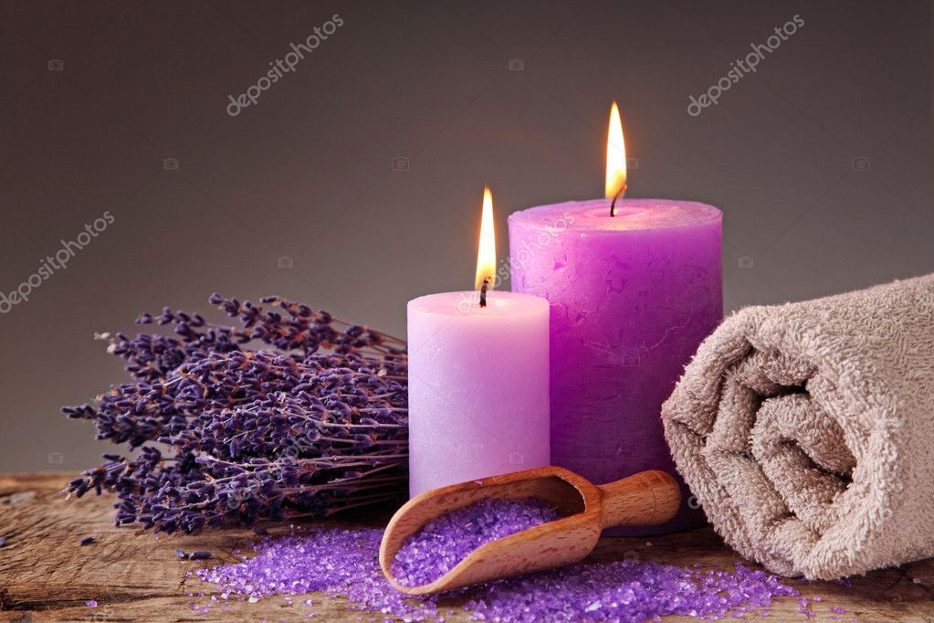 Spa still life with candles and lavender — Stock Photo #5446265