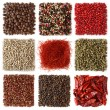 Stock Photo: Assortment of peppercorns and chili
