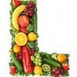 Fruit and vegetable alphabet — Stock Photo #5453314