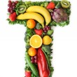 Fruit and vegetable alphabet — Stock Photo